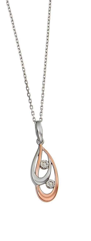 Kelly Herd Double Teardrop Necklace - Sterling Silver/Clear