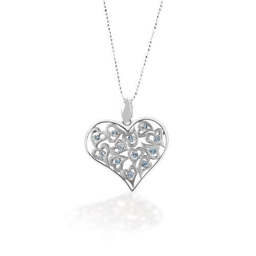 Kelly Herd Rose Gold Multi-Heart Pendant - Sterling Silver/Clear