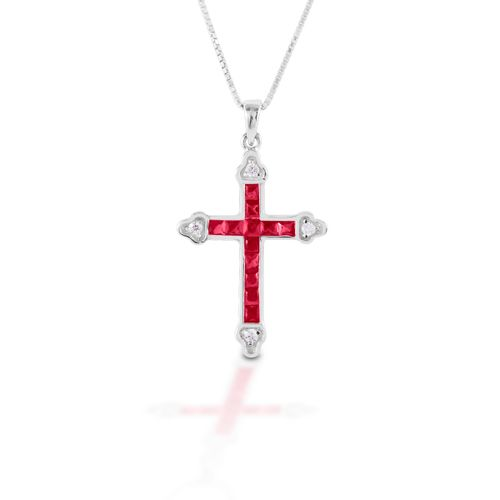 Kelly Herd Cross Necklace - Sterling Silver/Red