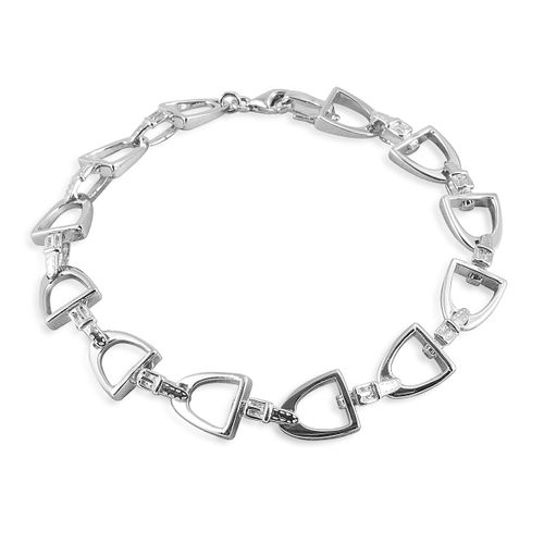 Kelly Herd Small English Stirrup Bracelet - Sterling Silver/Clear