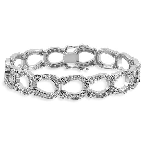 Kelly Herd Horseshoe Bracelet - Sterling Silver/Clear