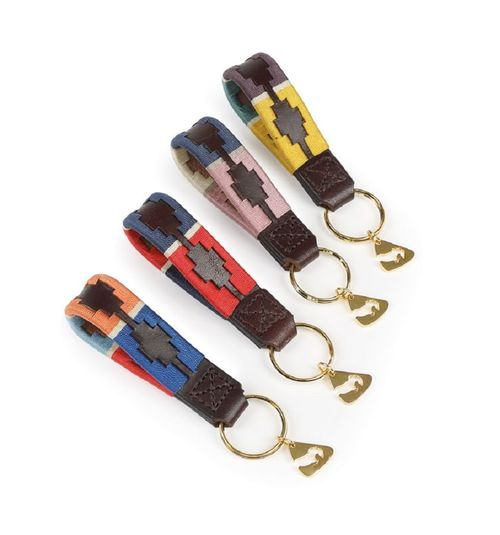 Aubrion Polo Keyring - Natural/Pink/Navy
