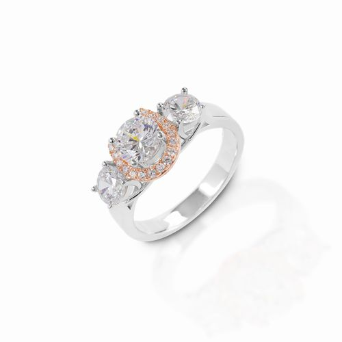 Kelly Herd Large Three Stone Rose Gold Horseshoe Ring - Sterling Silver/Rose Gold/Clear