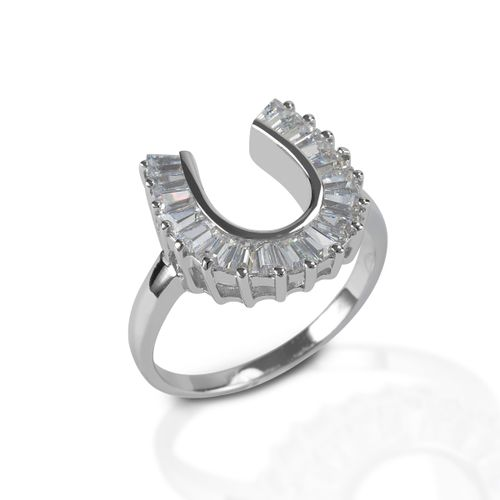 Kelly Herd Baguette Horseshoe Ring - Sterling Silver/Clear