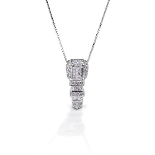 Kelly Herd Ranger Style Buckle Necklace - Sterling Silver/Clear
