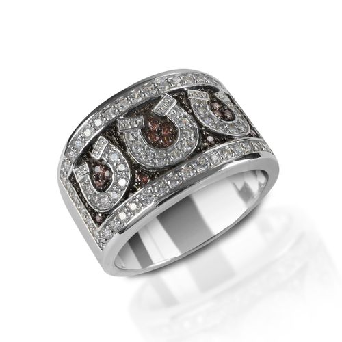 Kelly Herd Pave Horseshoe Ring - Sterling Silver/Cognac