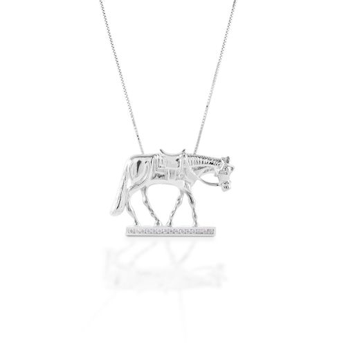 Kelly Herd Western Horse Necklace - Sterling Silver/Clear