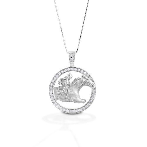 Kelly Herd Circle Race Horse Necklace - Sterling Silver/Clear