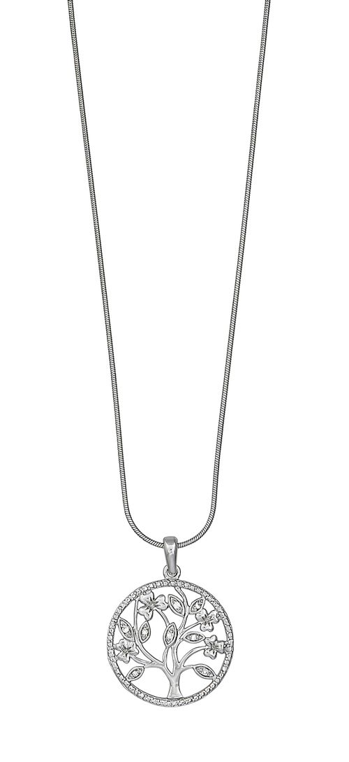 Kelly Herd Circle Tree Necklace - Sterling Silver/Clear