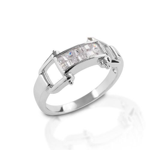 Kelly Herd Wide Bit Ring - Sterling Silver/Clear