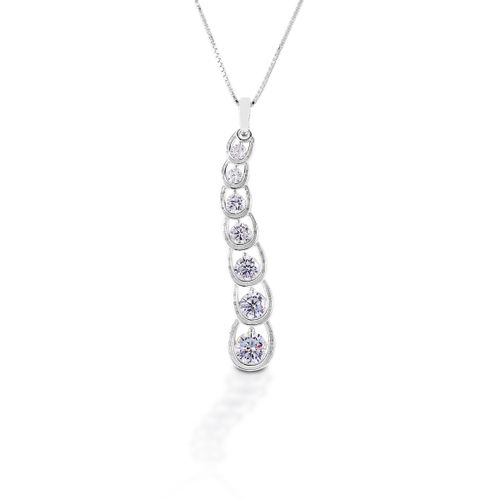 Kelly Herd Horseshoe Journey Necklace - Sterling Silver/Clear