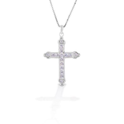 Kelly Herd Cross Necklace - Sterling Silver/Clear