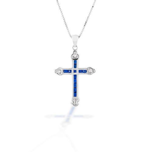 Kelly Herd Cross Necklace - Sterling Silver/Blue