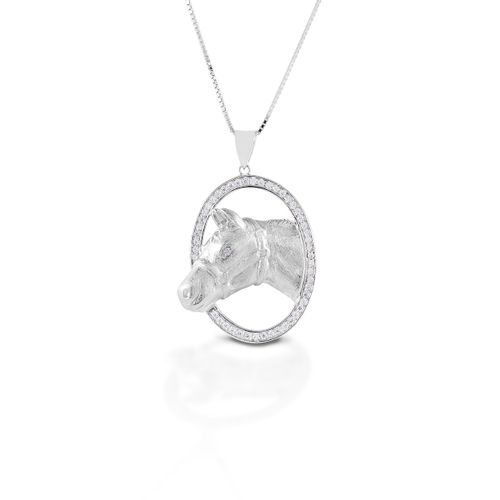 Kelly Herd Oval Halter Horsehead Necklace - Sterling Silver/Clear