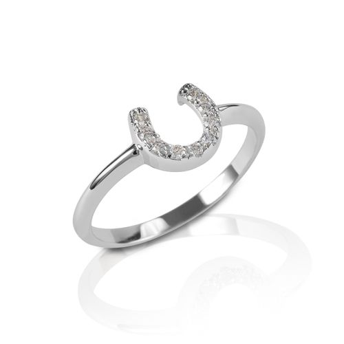 Kelly Herd Horseshoe Ring - Sterling Silver/Clear