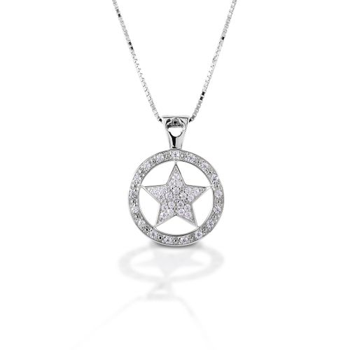 Kelly Herd Large Star Pendant - Sterling Silver/Clear