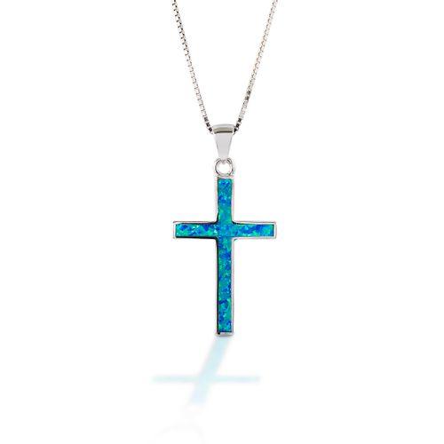 Kelly Herd Opal Cross Pendant - Sterling Silver/Blue