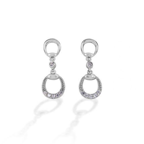 Kelly Herd Eggbutt Dangle Earrings - Sterling Silver/Clear
