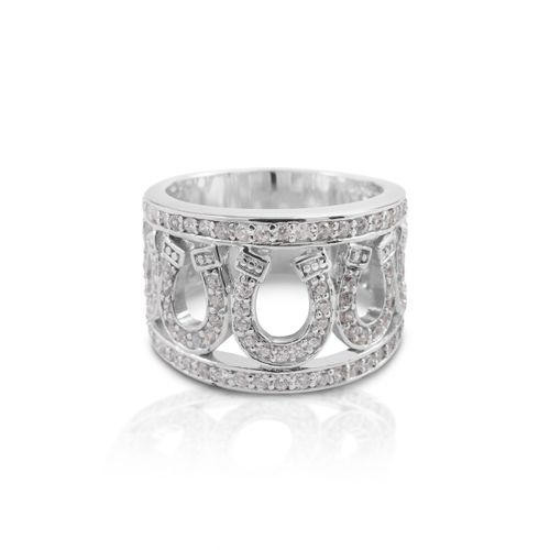 Kelly Herd Seven Horseshoe Ring - Sterling Silver/Clear