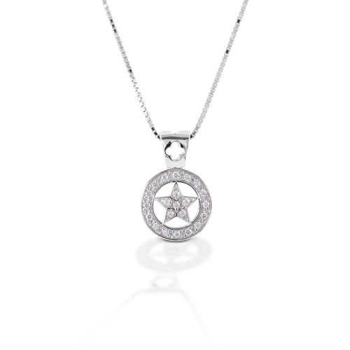 Kelly Herd Small Star Pendant - Sterling Silver/Clear