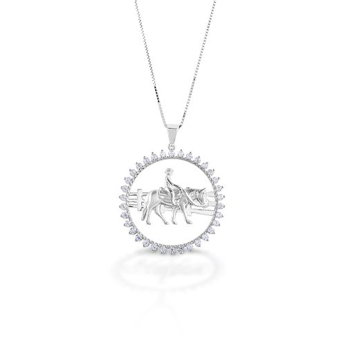 Kelly Herd Stone Circle Ranch Horse Pendant - Sterling Silver/Clear