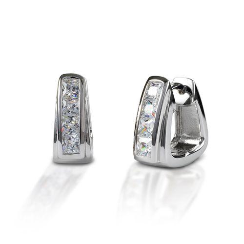 Kelly Herd Contemporary Stirrup Hoop Earrings - Sterling Silver/Clear