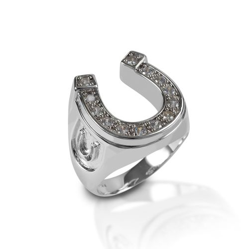 Kelly Herd Large Horseshoe Ring - Sterling Silver/Clear