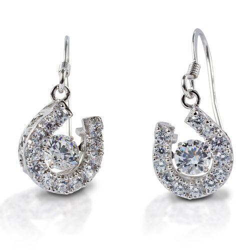 Kelly Herd Dancing Stone Horseshoe Dangle Earrings - Sterling Silver/Clear