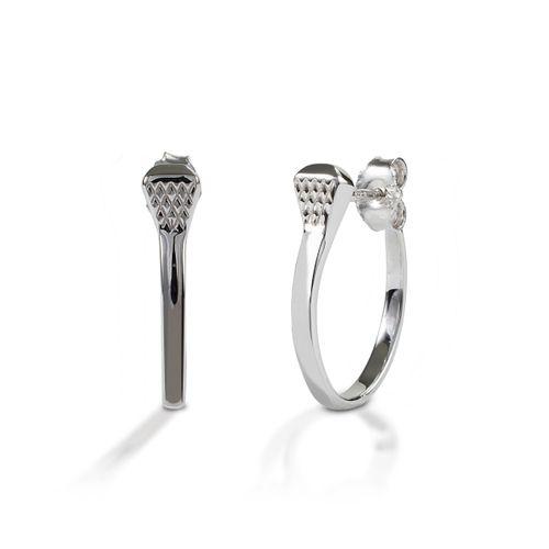 Kelly Herd Post Back Nail Hoop Earrings - Sterling Silver