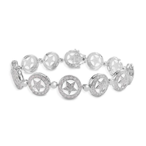 Kelly Herd Small Star Bracelet - Sterling Silver/Clear