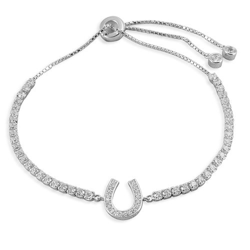 Kelly Herd Horseshoe Bolo Bracelet - Sterling Silver/Clear