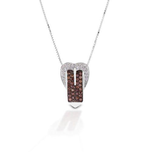 Kelly Herd Buckle Necklace - Sterling Silver/Cognac