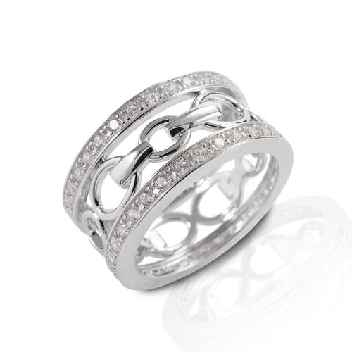 Kelly Herd Wide Band Bit Ring - Sterling Silver/Clear