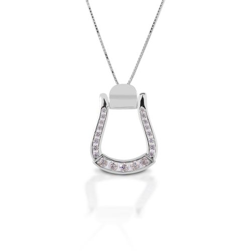 Kelly Herd Oxbow Stirrup Necklace - Sterling Silver/Clear