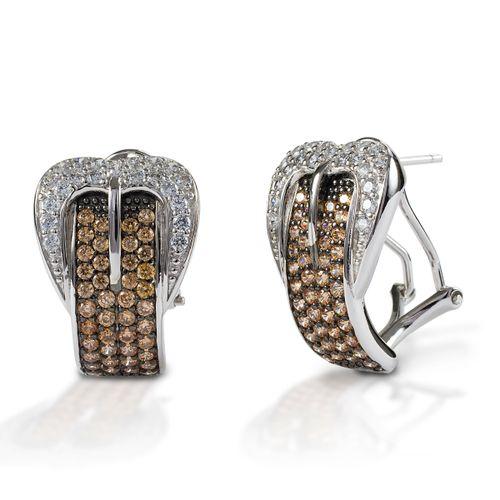 Kelly Herd Buckle Earrings - Sterling Silver/Cognac