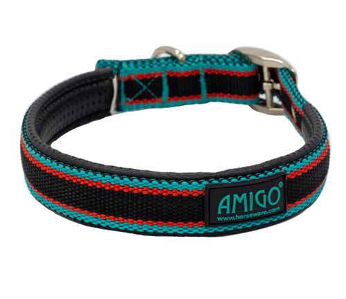 Amigo Dog Collar - Black/Teal/Dark Cherry