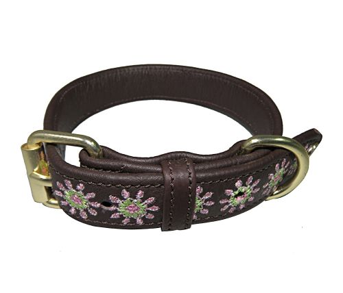Halo Ava Leather Dog Collar - Brown/Pink/Lime Green