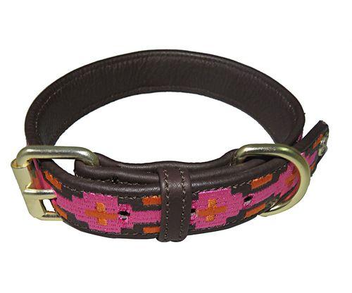 Halo Lex Leather Dog Collar - Brown/Hot Pink/Orange