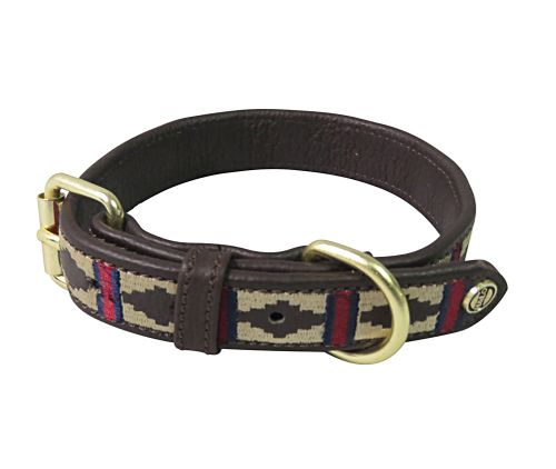 Halo Classic Leather Dog Collar - Brown/EC Red/Navy