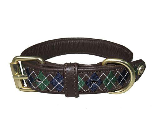Halo Buffy Leather Dog Collar - Brown/White/Hunter Green