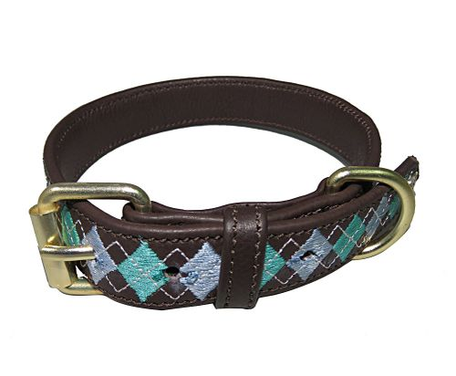 Halo Buffy Leather Dog Collar - Brown/White/Cashmere Blue