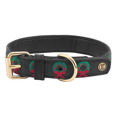 Halo Leather Dog Collar - Black/Christmas Wreath