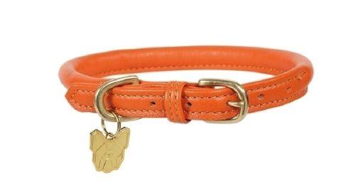 Digby & Fox Rolled Leather Dog Collar - Orange