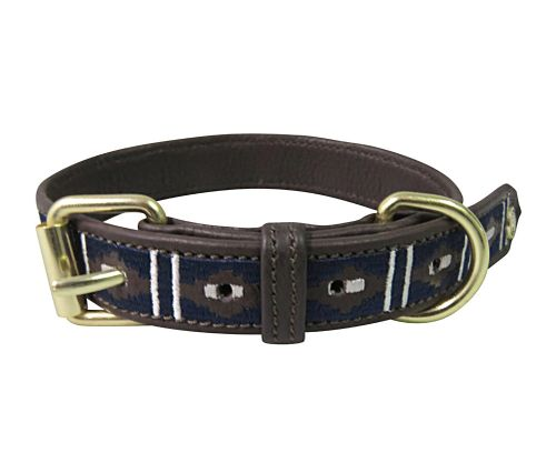 Halo Kelly Leather Dog Collar - Brown/White/EC Navy