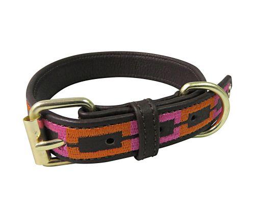 Halo Sam Leather Dog Collar - Brown/Orange/Hot Pink