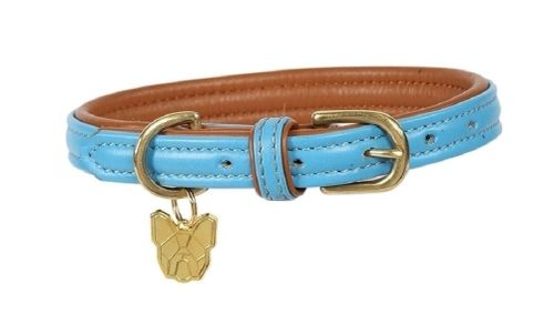 Digby & Fox Padded Leather Dog Collar - Blue