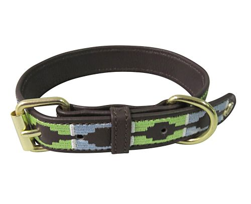 Halo Cal Leather Dog Collar - Brown/Cashmere Blue/Lime Green
