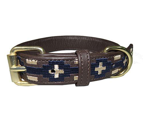 Halo Lex Leather Dog Collar - Brown/EC Navy/Safari