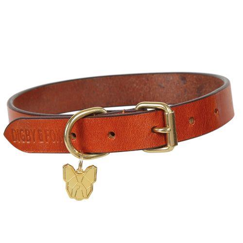 Digby & Fox Flat Leather Dog Collar - Tan