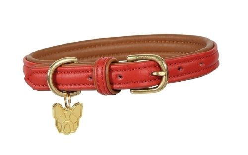 Digby & Fox Padded Leather Dog Collar - Red